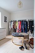 A spacious walk-in wardrobe