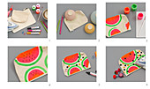 Instructions for making toiletries bags with watermelon motif