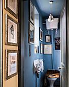 Framed artwork in blue washroom with wall-mounted cistern