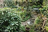 Garden furniture in courtyard of terrace