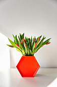 Hexagonal orange tray leaning against vase of tulips