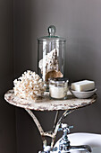 Seashell and coral wih scented soap and candle in restored 16th century farmhouse