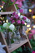Small bouquets with Columbine 'Grandmother's Garden' and Hydrangea macrophylla