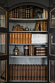 Antique bookcase with open doors