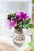 Posy of clover and purple flowers