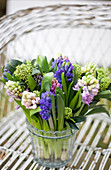 Scented bouquet of hyacinths and skimmia