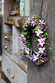 Spring wreath of hyacinth florets, waxflowers, mimosa and box