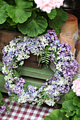 Wreath of lilac florets and tufted vetch