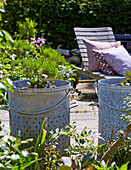 Zinc pots with plants on patio space