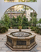 Labyrinth in Oriental fountain in courtyard