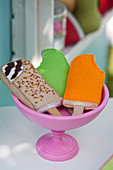 Handmade felt ice lollies