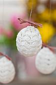 White, crocheted Easter eggs