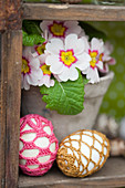 Easter eggs in crocheted covers