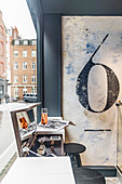 Breakfast bar with view of street. Salon 64, London, Great Britain