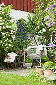 Wicker armchair next to roses and delphiniums