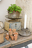 Candlesticks and small clay pots in front of old kitchen scales with plant