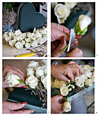 Instructions for making a heart-shaped arrangement of white roses and bouvardia