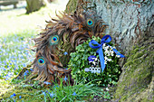 Boxwood wreath with a blue bow and flowers next to a wreath of peacock feathers