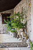 Stone dog next to amphora on the terrace at the stone cottage