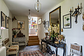 Console table and classical decoration in the hallway
