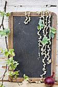 Branch with hydrangea blossoms and pearl necklaces on a writing tablet