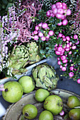Sphagnum myrtle, artichokes, budding heather, green apples and wooden pears