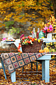Autumn decoration idea with cards, pumpkins, lantern flowers and autumn leaves