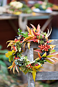 Colourful autumn wreath of autumn leaves and berries