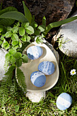 Blue Easter eggs with lace border