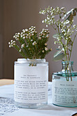 Transparent paper printed with writing as vase cuffs