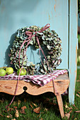 Wreath of hydrangea blossoms