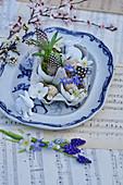 Kleine Osterdeko mit Osterhasen, Blüten, Traubenhyazinthe und Federn im Eierkarton