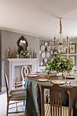 Burlington fireplace and restored French chandelier