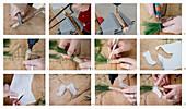 Engel aus Holz mit Papierflügeln und Haaren aus Kiefernadeln