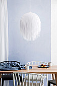 DIY pendant lampshade made from paper strips