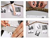 Mobile aus einem Ast und schwarz-weißen Fotos basteln