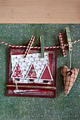 DIY Christmas card with fir tree motif