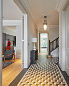 Tiled floor with graphic pattern in classic period building