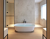 Free-standing bathtub in modern luxury bathroom