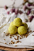 Natural handmade fizzy bath bombs with camomile and lemon