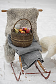 Basket with apples and thermos on a sledge with sheepskin and blanket