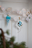 Christmas fairy lights decorated with cake lace
