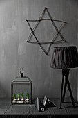 Terrarium and black table lamp below star on dark wall