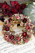 Wreath of hydrangea flowers and everlasting flowers on a pumpkin