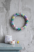 Handmade wreath made from egg cartons