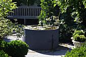 Waterlilies in pool in Zen garden