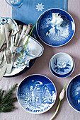 Blue-and-white plates with Christmas patterns
