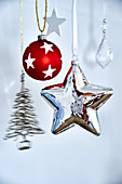 Christmas decorations in silver and red