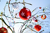 Christmas decorations in red, silver and glass