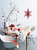 Red and white Christmas table setting